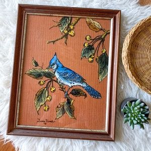 Vintage Handpainted Bluebird on Branch in Custom Wood Frame with Fabric Backing